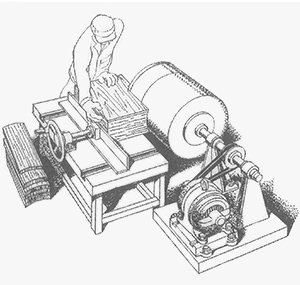 1931: Completes cylindrical sawing machine for keg production as the first production machine.