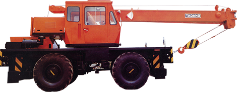 1970: Introduces Japan's first hydraulic rough terrain crane, the TR-150, with a 15-ton lifting capacity.