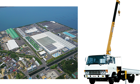 1980: Constructs and begins production at Shido Plant in Sanuki City, Japan. Introduces the Z loaders crane series.